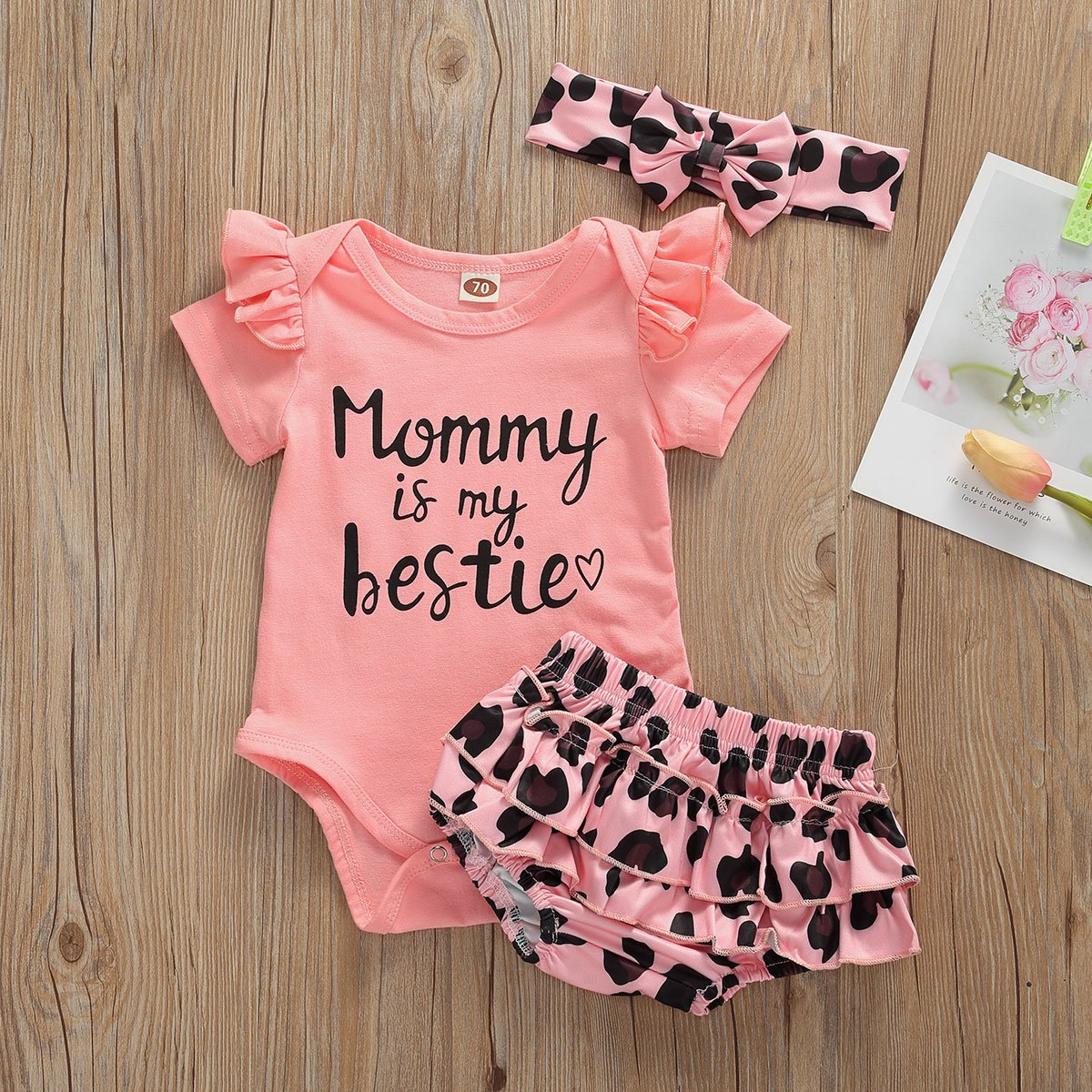 0-24 Months Newborn Infants Baby Girls Clothing Mommy is my bestie Pink Short Sleeve Bodysuit Playsuit Bow-Knot Headband Girl Outfits - OUTLATTE
