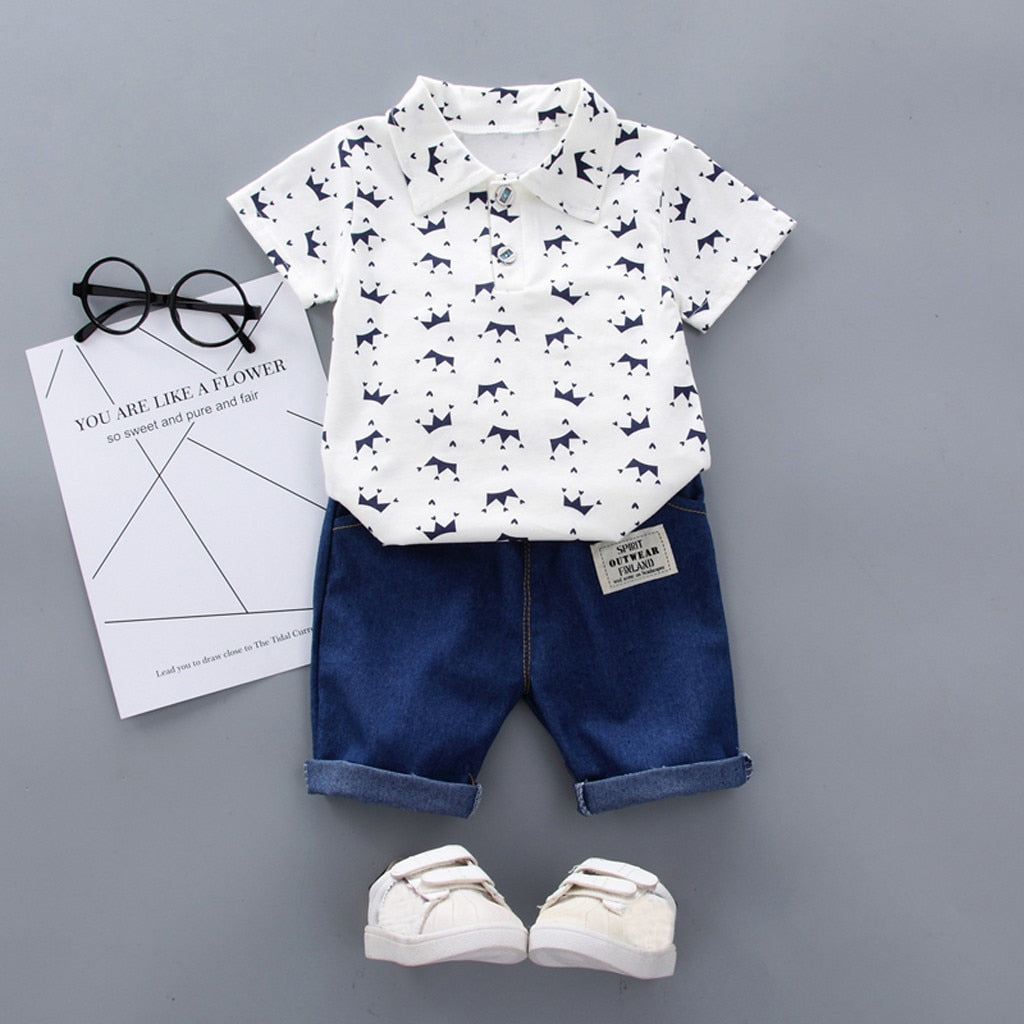 White Baby Boy Clothing Sets Summer Toddler Fashion Luxury Boys Short Sleeve Crown Pattern Shirt Tops+ Denim Pants Kids Clothes Set Newborn Outfits