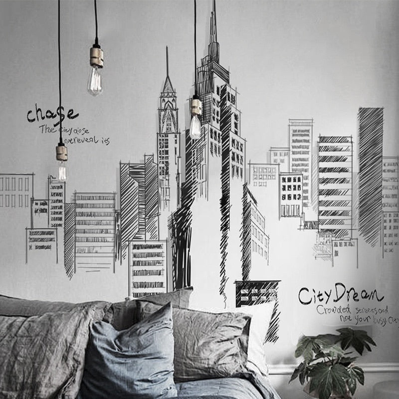 1pc PVC Large Wall Stickers Tall City Buildings Wall Stickers for Living Room Background Mural Decal Art DIY Home Decoration
