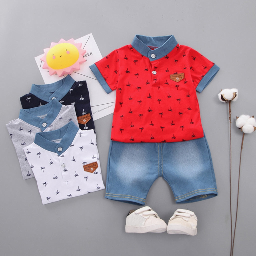 Luxury Red Blue Jeans Toddler Kids Baby Boy clothes summer Short Sleeve Tree Pattern Shirt Tops + Denim Pants kids clothes sets newborn sport suits