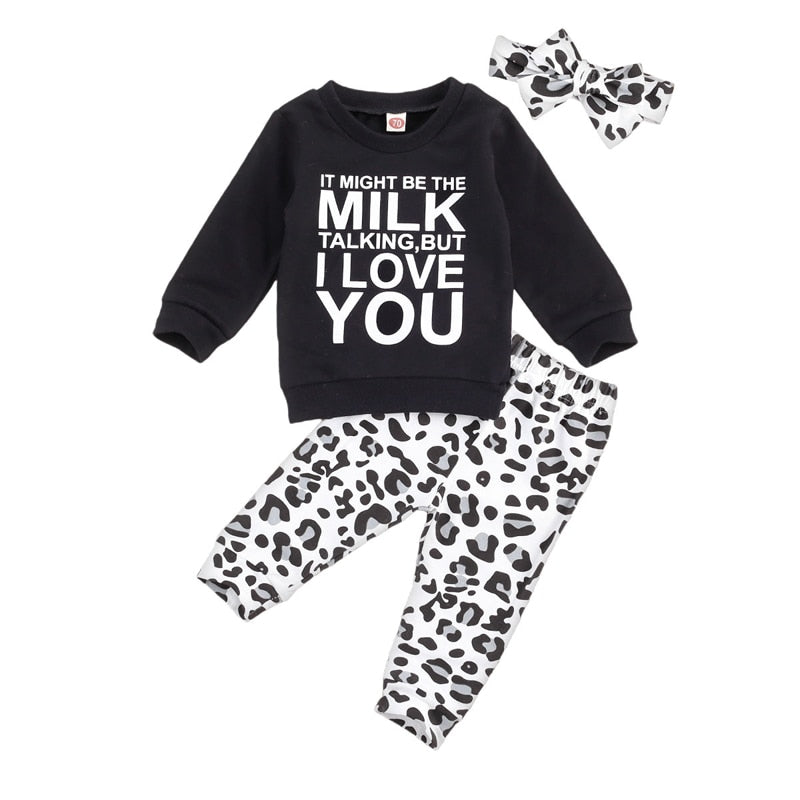 0-24 Months Luxury Newborn Baby Gril Autumn Clothing Set Letter Printed Black Sweater + Leopard Print Trousers + Headband 3Pcs Outfit Set