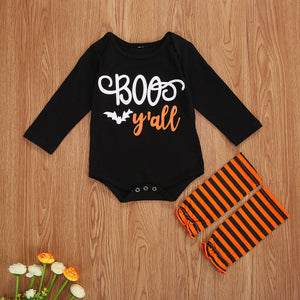 3 Pcs Newborn Halloween BOO Y'all Clothes 0-18 Months Infant Toddler Baby Girl Boy Romper Long Sleeve Letter Print Romper Striped Socks - OUTLATTE