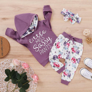 New 0-24M Baby Autumn Clothing Set Toddler Baby Girl Long Sleeve 2Styles Letter Printed Romper Top Floral Pants 2Pcs Outfit Set - OUTLATTE