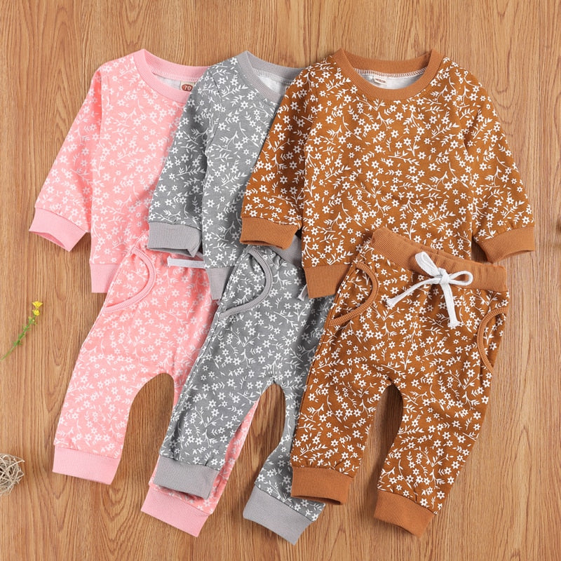 0-24 Months Newborn Toddler Infant Luxury Baby Girl Autumn Clothing Set Long Sleeve Floral Printed Top Pants 2Pcs Outfit 3Colors