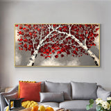 Abstract Trees With Red Leaves 100% Hand Painted Oil Painting On Canvas Without Frame Fashion Modern Wall Art For Home Decor