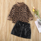 Spring Autumn 1-5 Years Toddler Luxury Kid Baby Girls Autumn Clothes Set Leopard Hoodies Tops + Mini PU Leather Skirt Dress Outfits