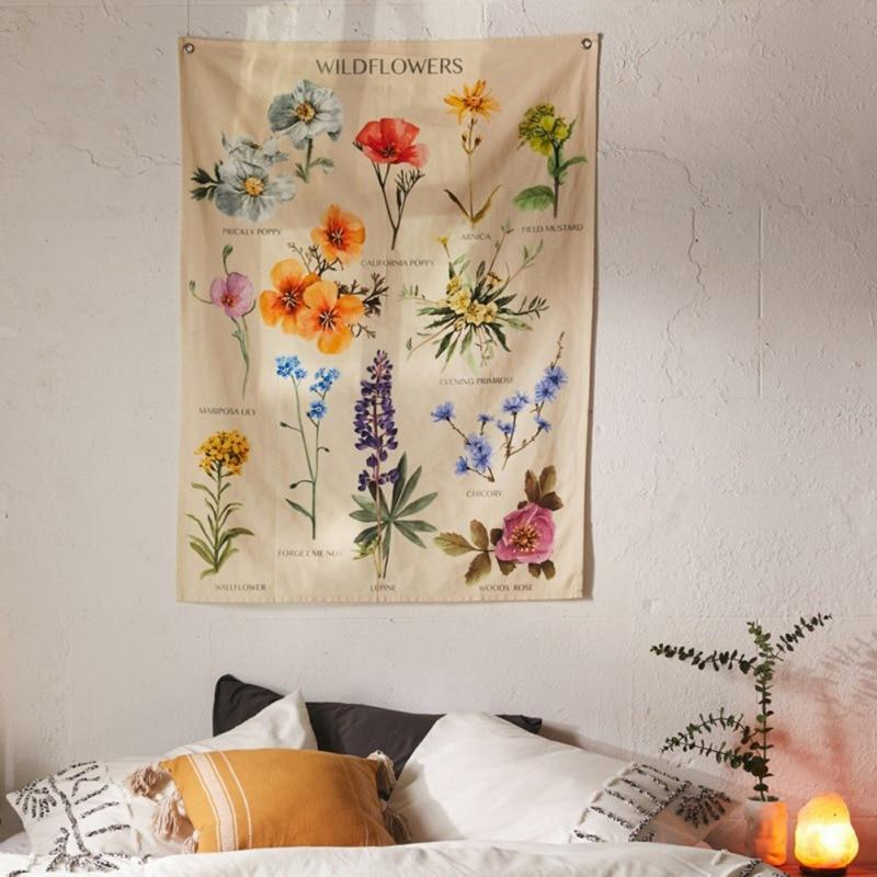 Bohemian Tapestry Flower Wall Hanging Room Wildflower Carpet Dorm Tapestries Art Home Decoration Accessories - OUTLATTE