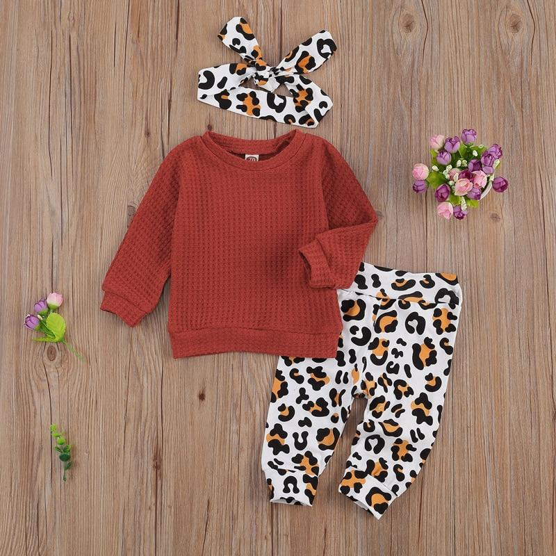 0-24 Months Newborn Girl Lovely Children Sweater Suit Long Sleeve Top Leopard Pattern Long Pants Hairband Autumn Clothing - OUTLATTE