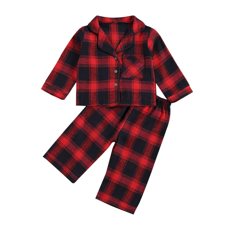 Baby Boy Girl 2-7 Years Clothing Plaid Top Clothing Sleeping Pants Suit Cotton Lapel Neck Long Sleeve Buttons Shirt