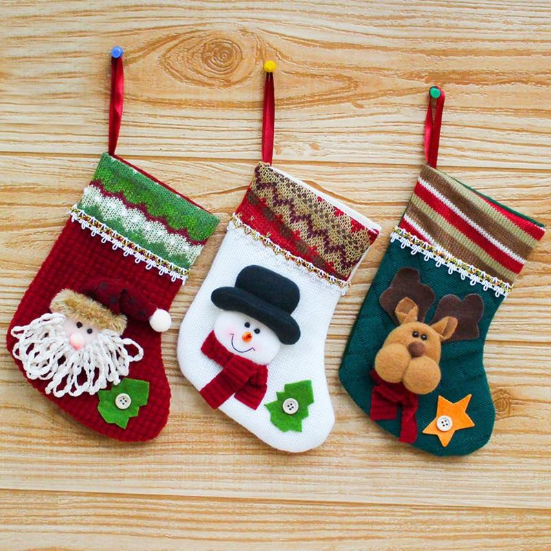 Fashion Cartoon Santa Claus Snowman Elk Christmas Socks Festival Xmas Stocking Christmas Ornaments Home Decor Gifts - OUTLATTE