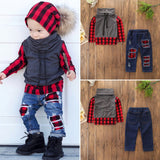 1-6 Years Cute Toddler Kids Luxury Red Black Fashion Baby Boy Clothes Set Plaid Tops Denim Jeans Pants Leggings Outfits Clothes