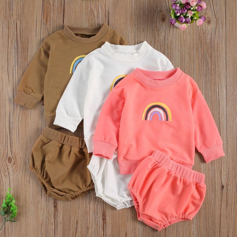0-24 Months Newborn Infant Luxury Baby Boy Girl Autumn 2Pcs Clothing Set Long Sleeve Rainbow Printed Top Solid Shorts Outfit
