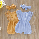 Summer Baby Girl Rompers Newborn Luxury Baby Clothes Toddler Flare Sleeve Solid Lace Design Romper Jumpsuit With Headband One-Pieces
