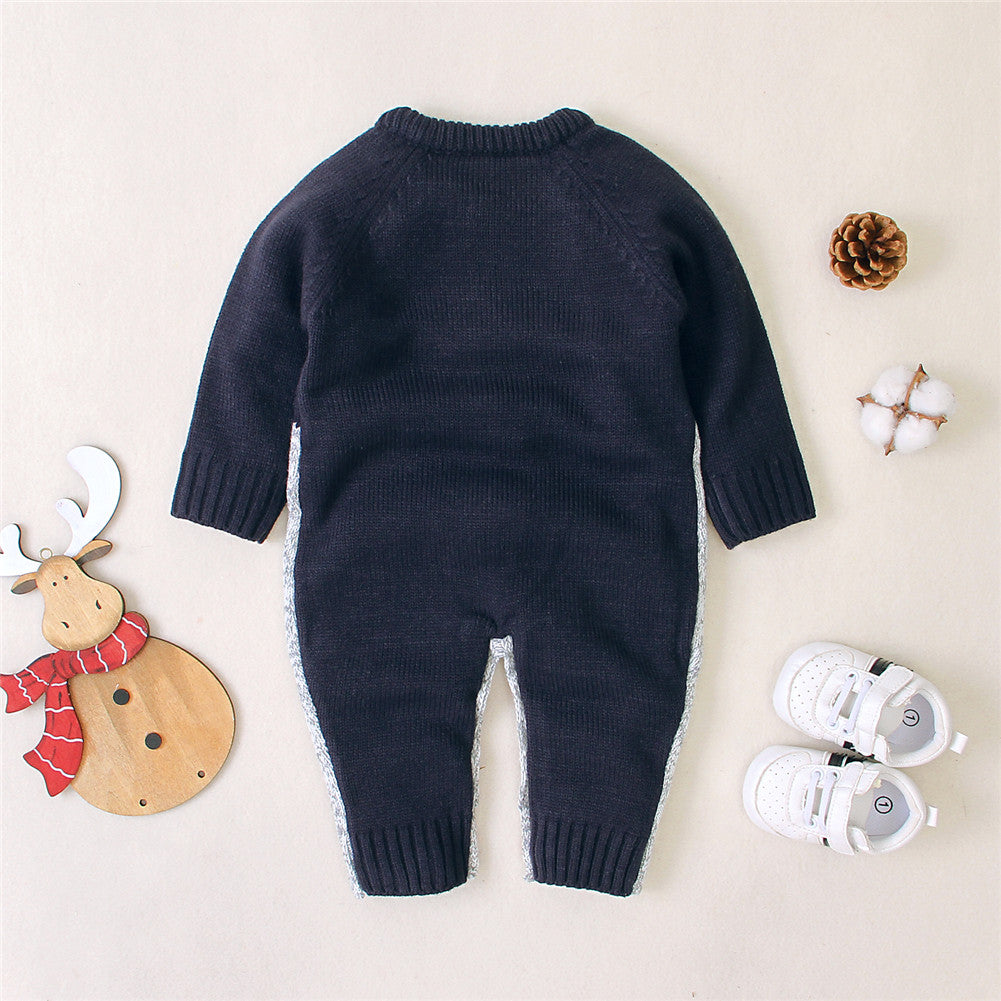Newborn Winter Christmas Clothes Reindeer Printed Jumpsuit for Baby Luxury Boy Girl Warm Knitted Long Sleeve Romper  3-18 Months