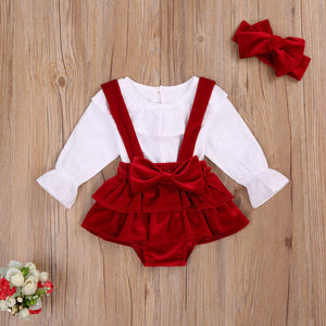 0-24 Months Red Luxury Baby Girls Solid Color Dress Set Children Long Sleeve Lace Neck Top  Bow Suspenders Short Pants and Hairband