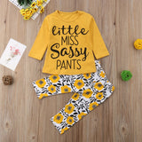 New Fashion Newborn Infant Luxury Yellow Little MISS Sassy Pants Baby Boy Girl Kids Cotton Floral Long Sleeve Tops+Pants Clothes Outfits 2Pcs