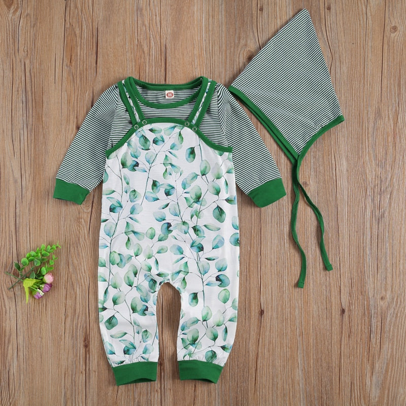 0-24 Months Newborn Infant Baby Boy Girl 3Pcs Set Striped Long Sleeve Top Plant Printed Button Overall Lace Up Romper Hat