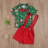 0-4 Years Newbown Luxury Baby Boy Christmas Clothing Christmas Trees Green Prinetd Romper Top Red Belt Shorts 2Pcs