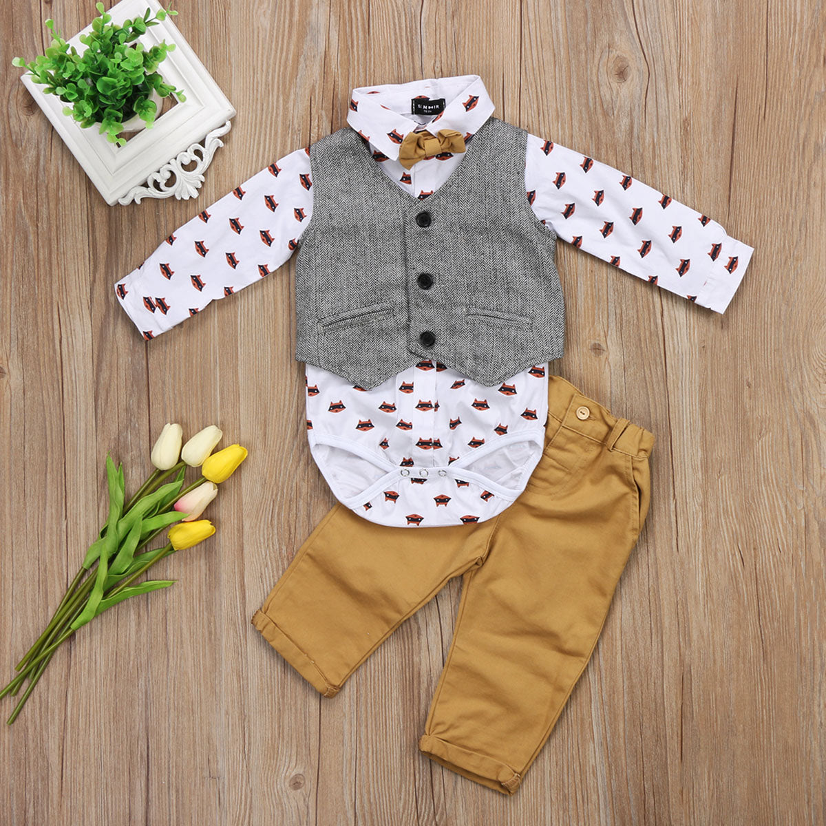 0-24 Months Newborn Infant Toddler Baby Boys Formal Suit Solid Vest Waistcoat Cartoon Pirnted Shirts Top Pants 3Pcs Set