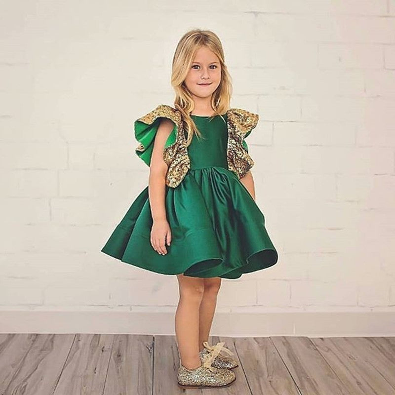 Luxury Baby Toddler Girl Dress 1 2 3 4 5 Years Old Children Summer Princess Dresses Sequined Bow Green Color Kids Party Costume