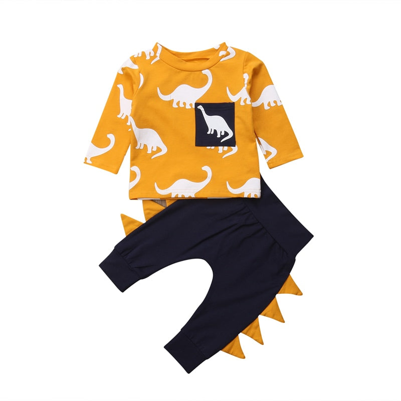 2PCS Kids Toddler Luxury Yellow Baby Boys Clothes Print Dinosaur Long Sleeve T-shirt Tops+Pants Leggings Outfits Clothes Suit Set
