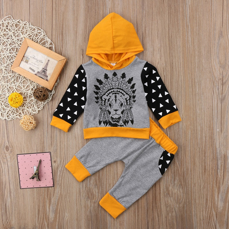 Newborn Toddler Luxury Baby Boys Girl Clothes Cotton T-Shirt Tops Hoodie Pants Outfits 2Pcs Set Clothes