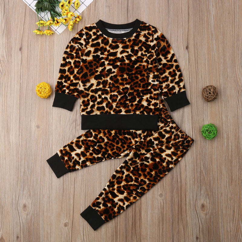 New Fashion 2PCS Toddler Kids Luxury Fashion Baby Girls Leopard Set print Long Sleeve Tops Pants Winter Outfits Clothes