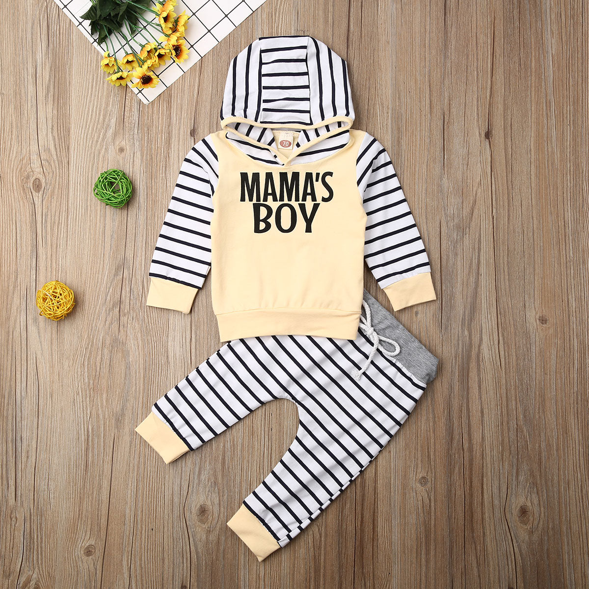 0-24 Months Newborn Kids Baby Boys Letter Tracksuit Pullover Top+Pants Clothes Outfits Set