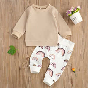 0-24 Months Newborn Luxury Baby Boys 2-piece Outfit Set Long Sleeve Solid Cotton Soft Top+Rainbow Print Pants Set