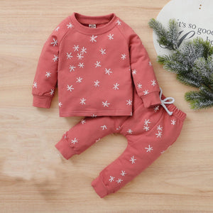 Toddler Kids thick clothes suit Baby Boys Girls Cartoon Letter Print Tops+Start Pants Set newborn baby kids winter clothes set