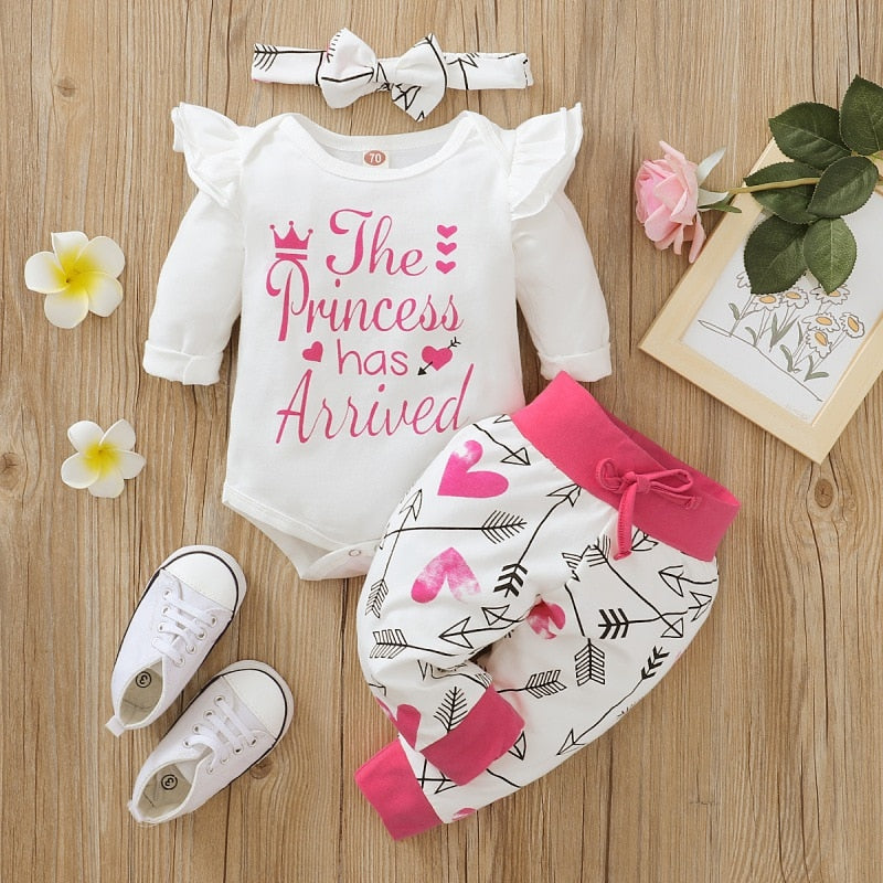 Birthday Letter Luxury Baby Clothes Set Infant Girls The Princess Has Arrived Bodysuit Romper Pants Set Newborn Clothes 3pcs Outfits