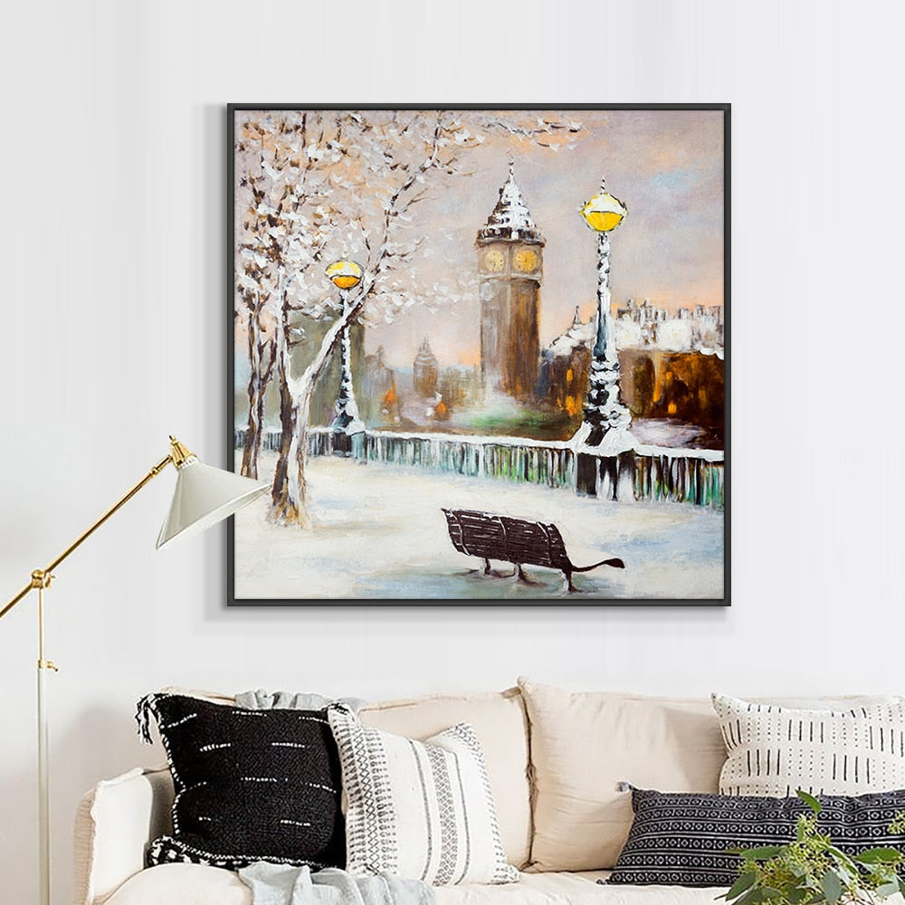 Abstract Landscape Painting Building Trees Streetlight Oil Painting 100% Hand Painted On Canvas Handmade Wall Art For Home Decor