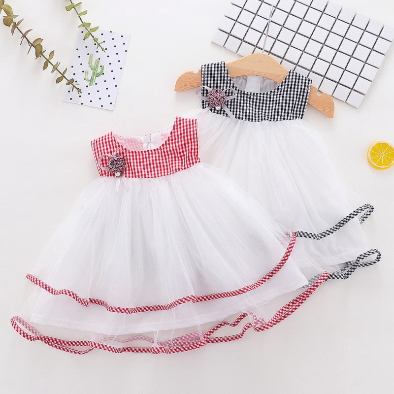 Lovely Luxury Summer Casual Baby Girls Sleeveless Plaid Pattern Mesh Dress Kids Toddler Princess Sundress Dresses For Girl