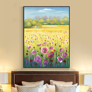 Abstract Trees Flowers Painting 100% Hand Painted Oil Painting On Canvas Modern Landscape Wall Art For Living Room House Decor