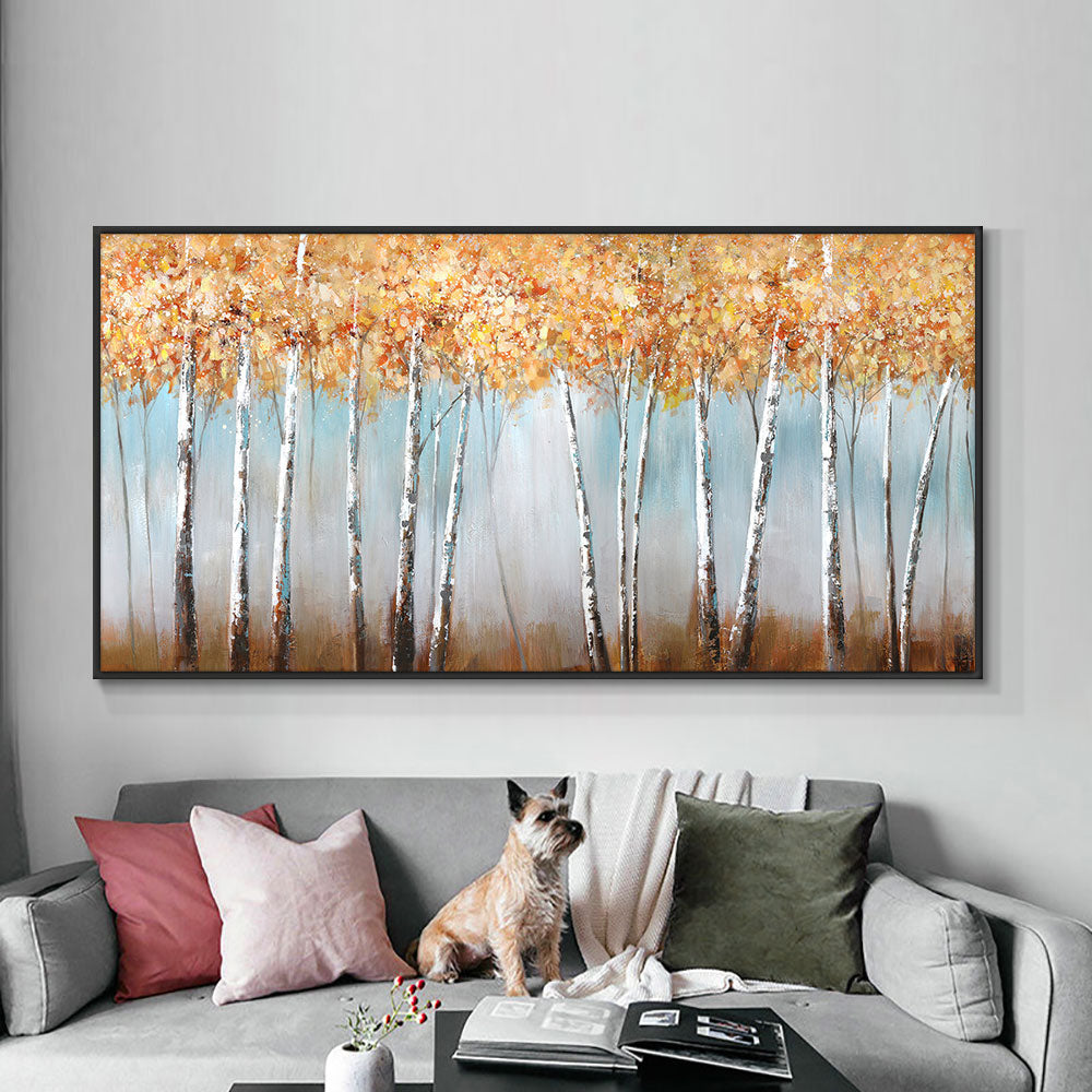 Large Size Oil Painting Abstract Trees  With Yellow Leaves 100% Hand Painted On Canvas Wall Art Painting For Home Decoration