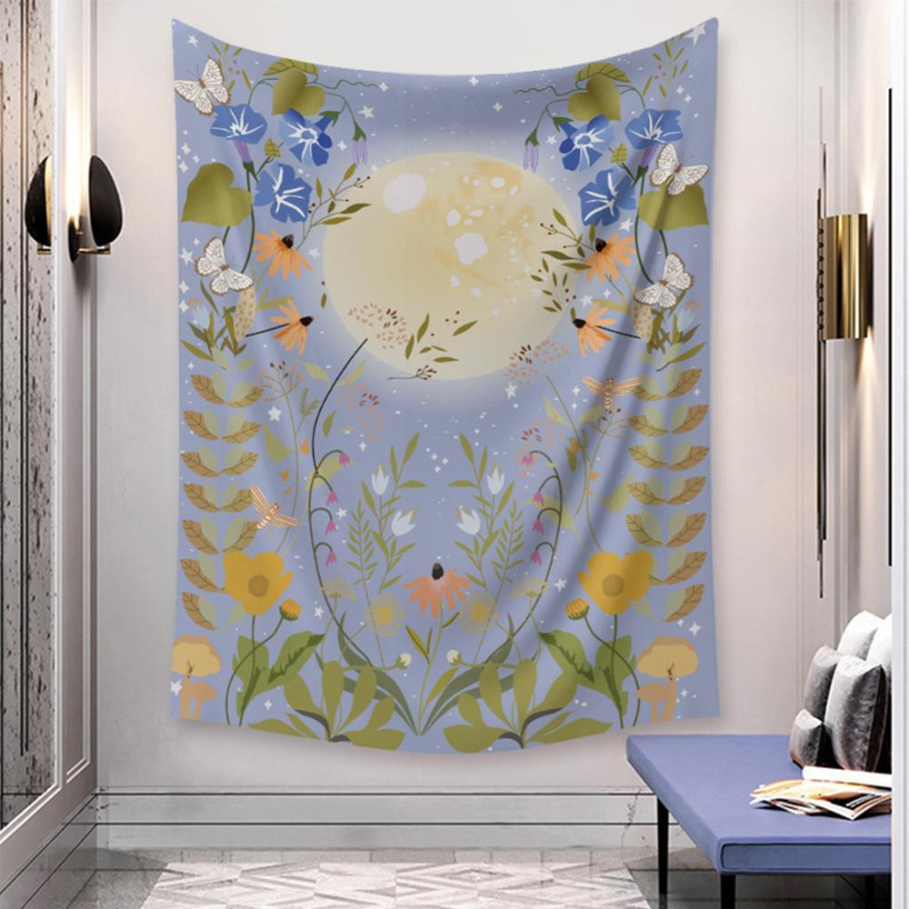 Wall Hanging Decor Mandala Floral Starry Night Wall Hanging Tapestry Home Room Decor, 5 Sizes
