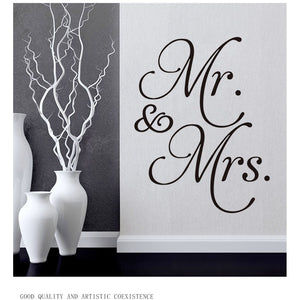 1Pc Vinyl Mr Mrs Wall Stickers For Bedroom Living Room Decoration Modern Home Decor Removable Decal DIY Wedding Room Supplies