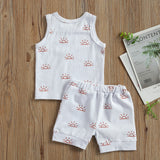 0-3 Years Toddler Luxury Baby Boy Girl Clothes Sets Sun Print Sleeveless Pullover Vest Shorts  2 Colors 2Pcs Outfit