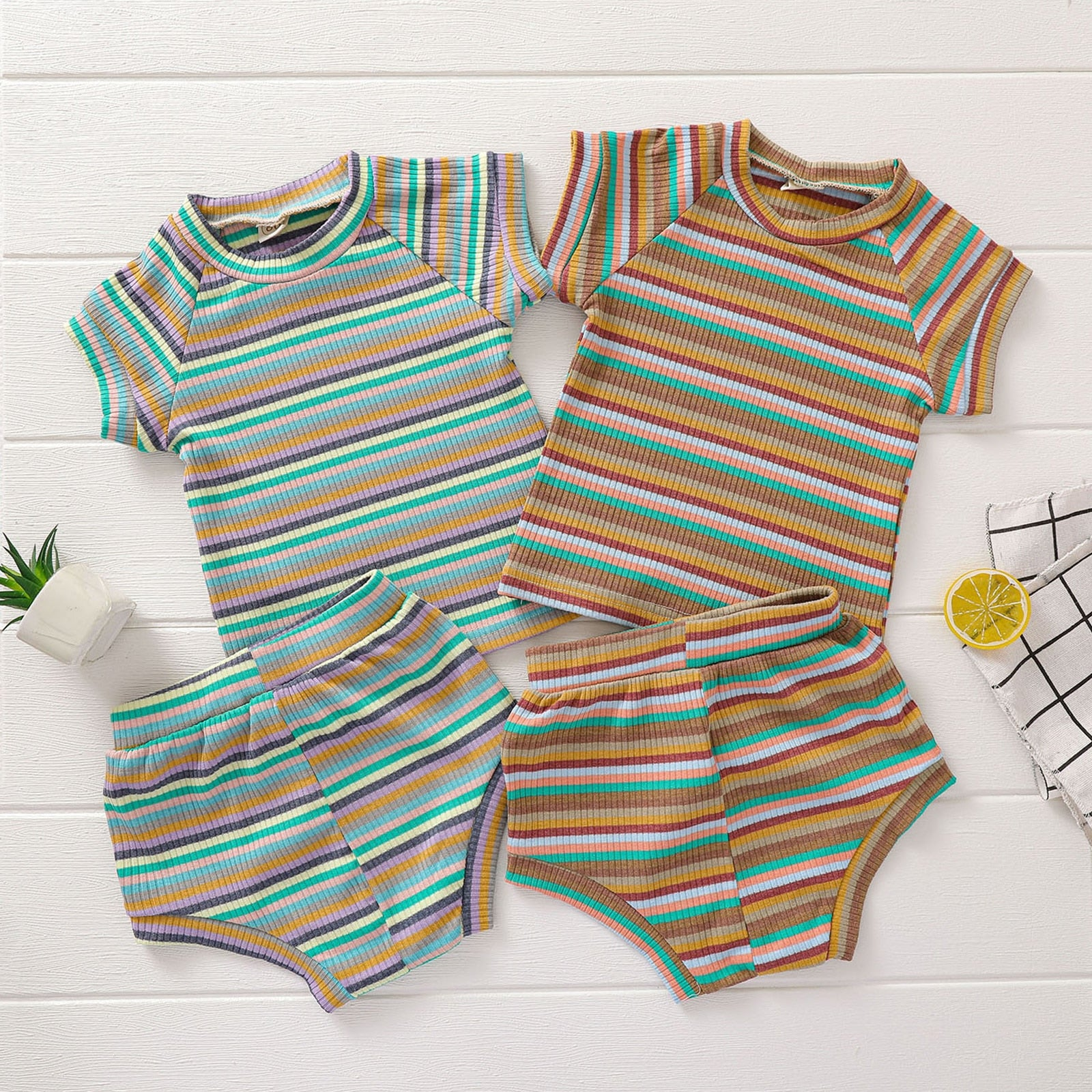 0-3 Years 2 Pcs Newborn Striped Outfits Luxury Baby Boy Girl Casual Short Sleeve Round Neck Pullover + Shorts 2 Colors