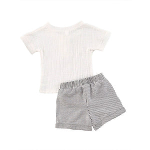 0-3 Years Toddler Luxury Baby Girl Clothing Set Short Sleeve White Cotton Top Shirt Striped Printed Shorts 2Pcs Outfit Set