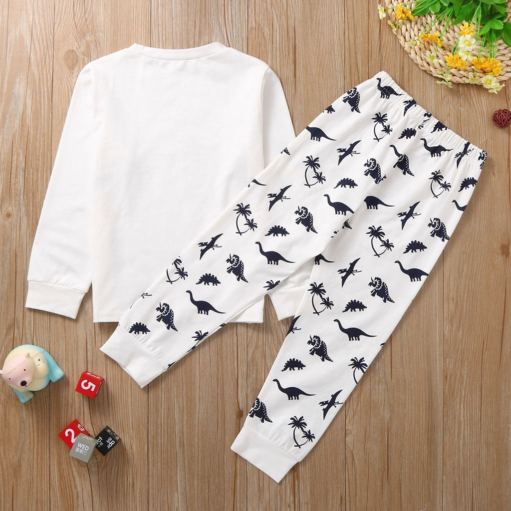 1-7 Years Baby Luxury Boys Clothes Set Baby Fashion Clothes Set Baby Boy Kids Cartoon Dinosaur T shirt Tops Pants Pajamas Sleepwear Outfits Set