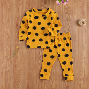 0-24 Months Toddler Newborn Baby Girl Autumn 2Pcs Clothing Set Long Sleeve Printed Knitting O-Neck Top Pant Outfit