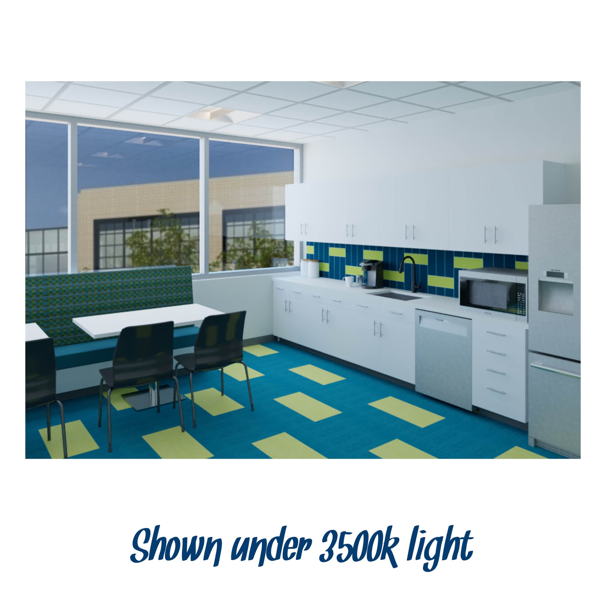 Break Room Cool Color #1 renderings shown under 3500k light
