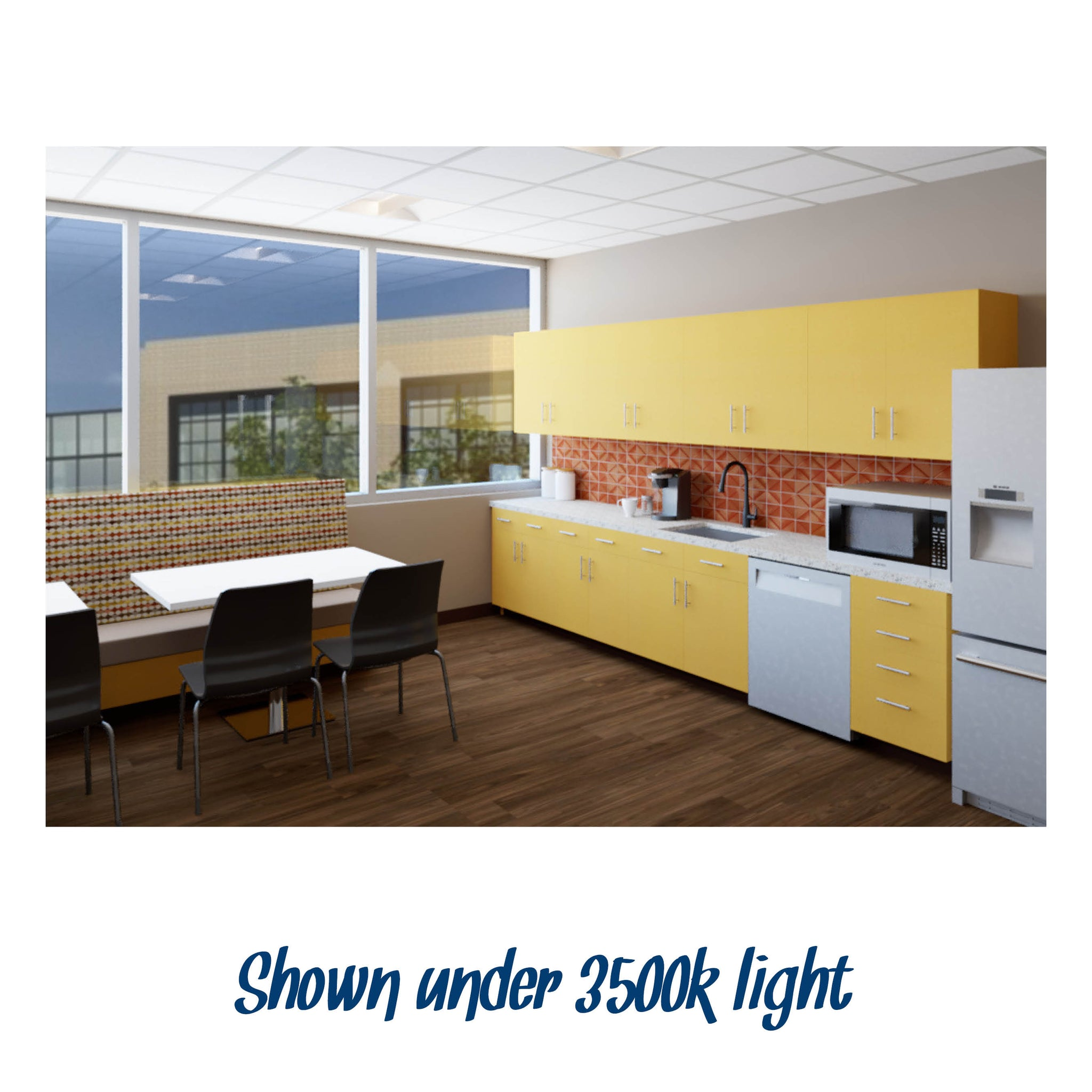 Break Room Warm Color #1 renderings shown under 3500k light