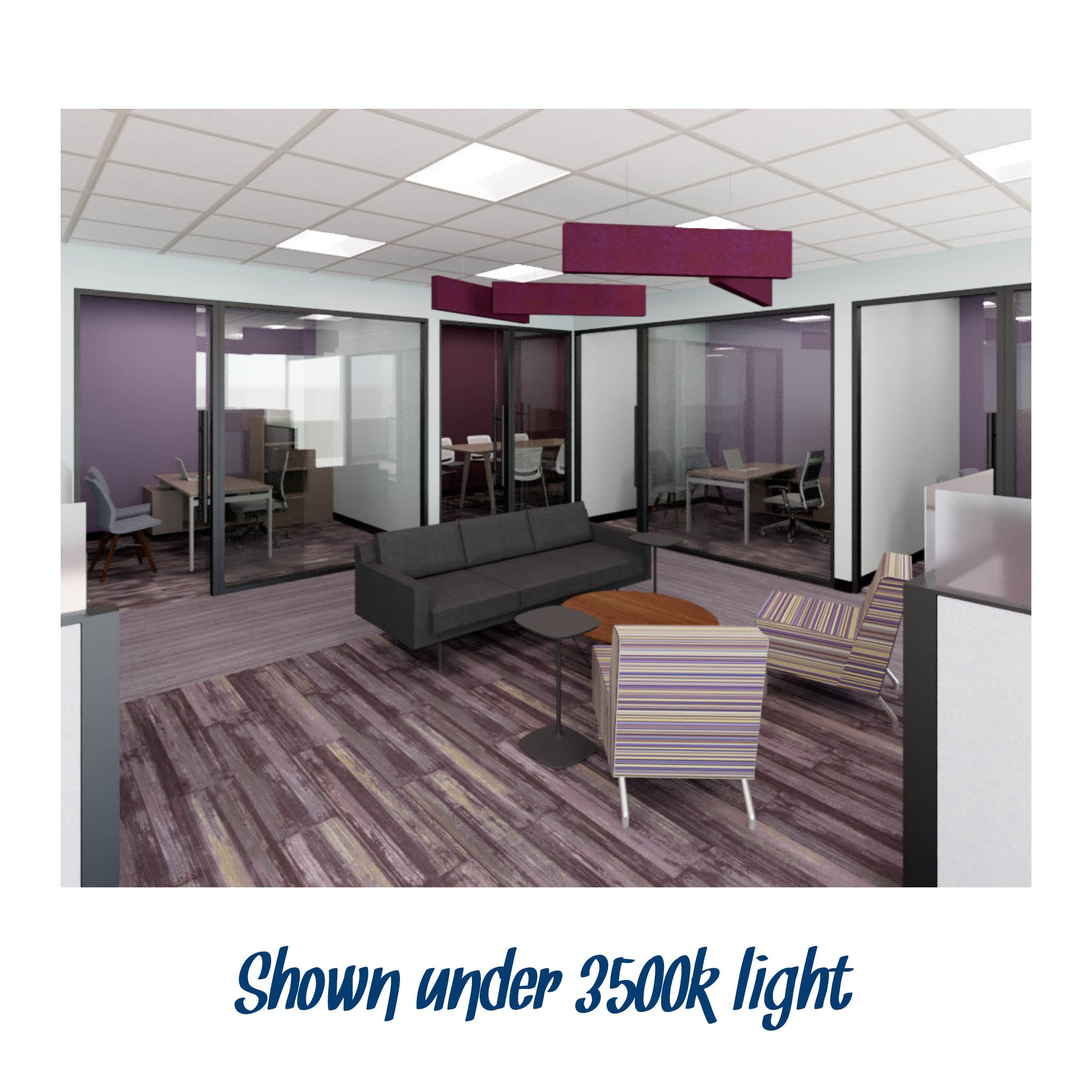 Cool purple, yellow, and gray commercial office rendering