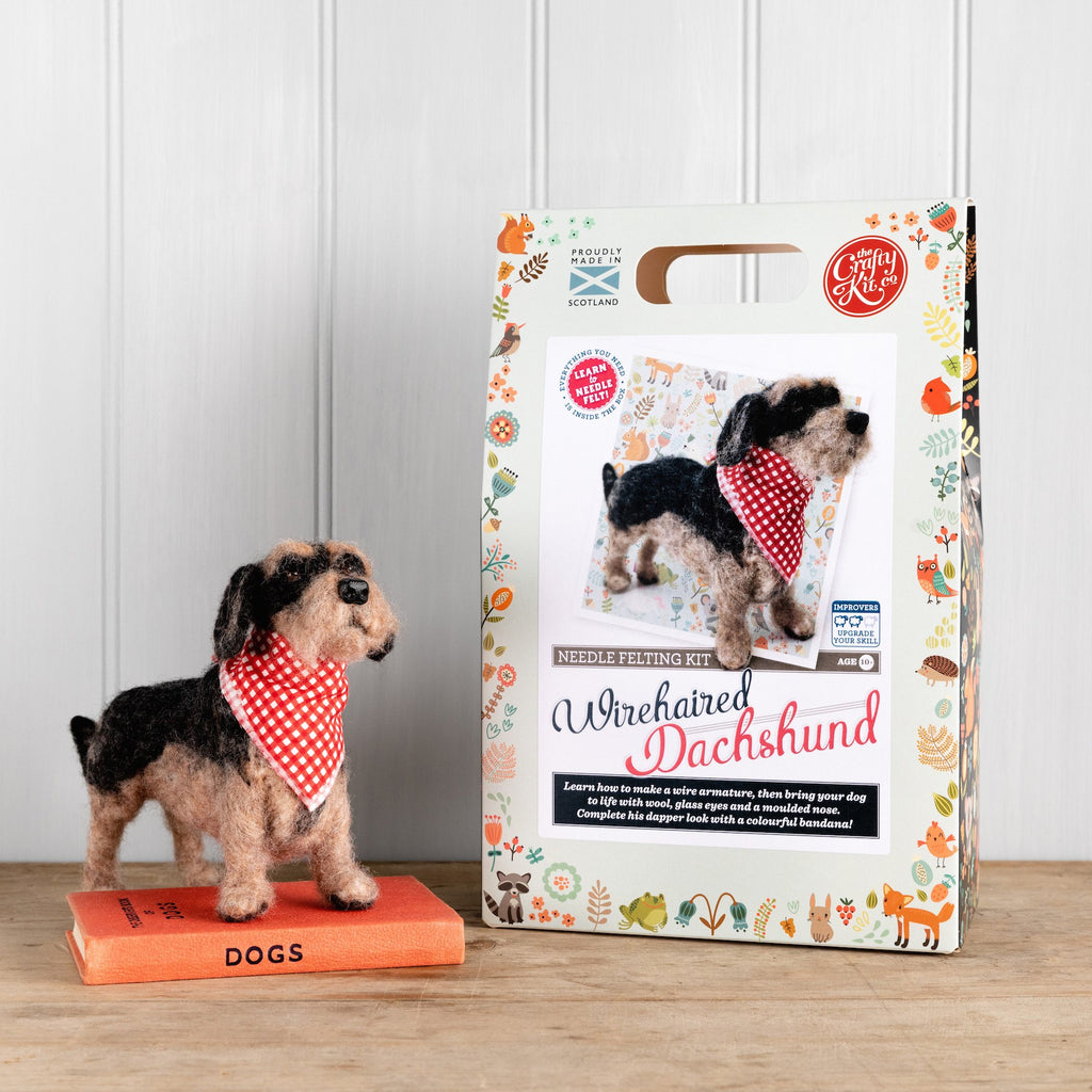 The Crafty Kit Company Miniature Wirehaired Dachshund Needle Felting Kit