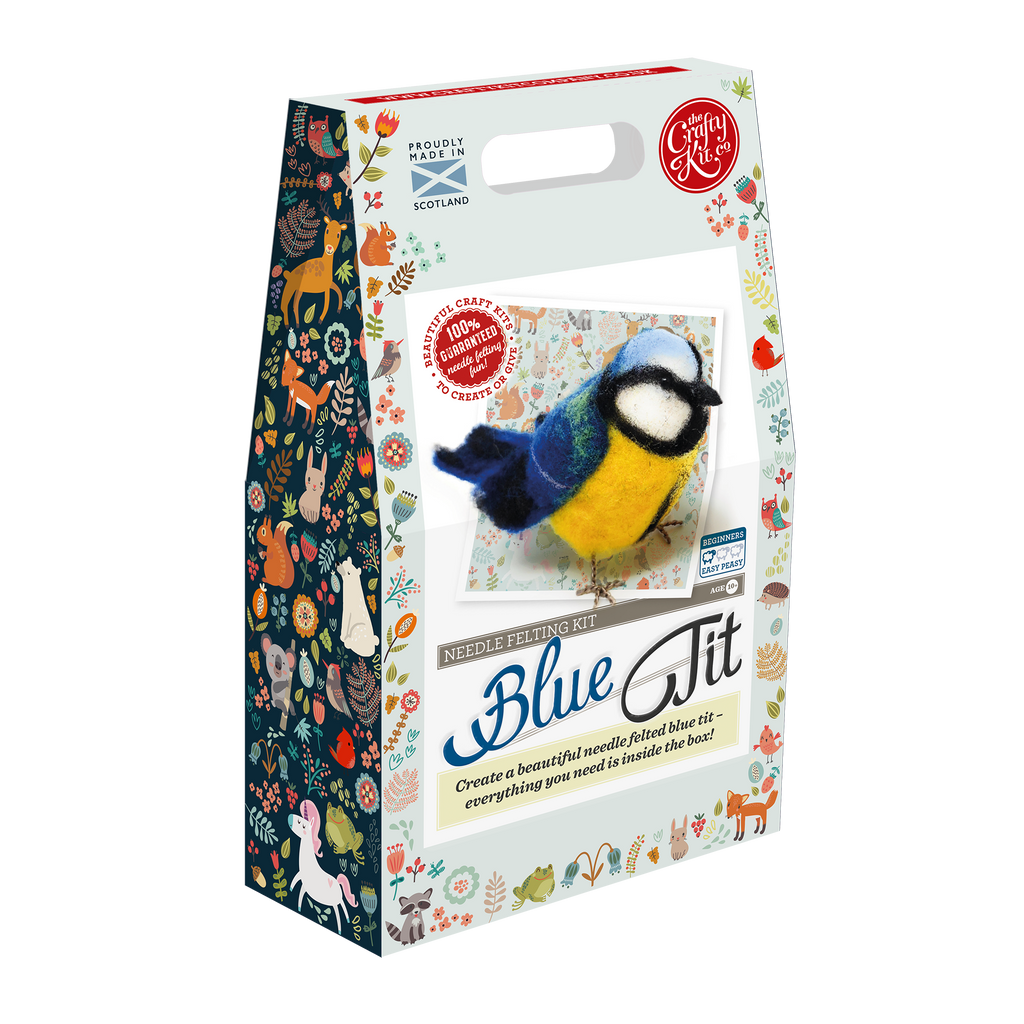 The Crafty Kit Company Blue Needle Felting Kit Box