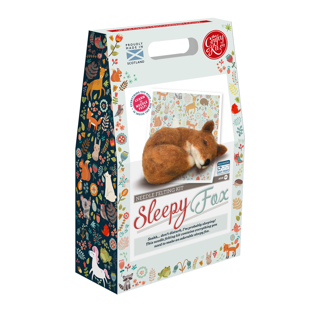 The Crafty Kit Company Sleepy Fox Needle Felting Kit Box
