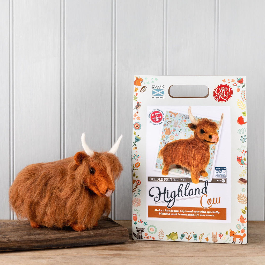The Crafty Kit Company Highland Cow Needle Felting Kit