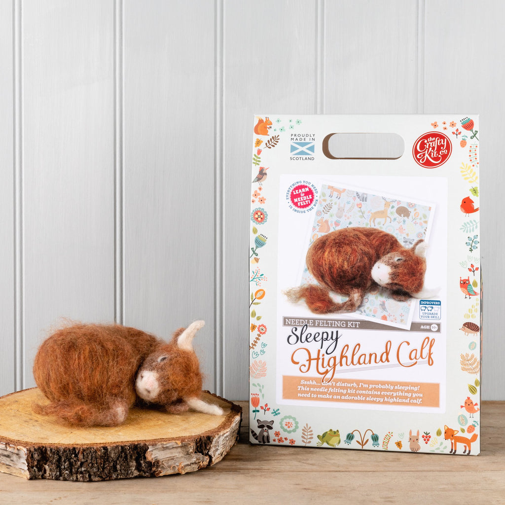 The Crafty Kit Company Sleepy Highland Calf Needle Felting Kit